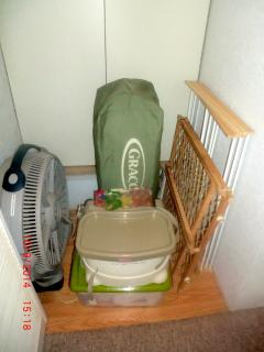 Baby gear- Pack-n-play (crib) w/sheets, portable highchair, safety gate, misc. supplies/Upon request