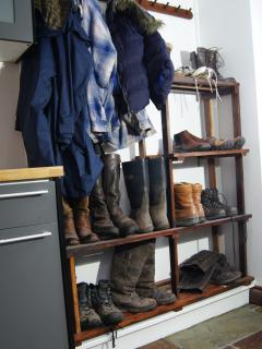 Boot and coat rack for storage after your days adventure.
