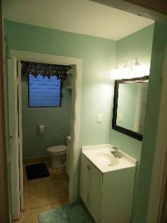 Bathroom with one sink on the inside and another on the outside.