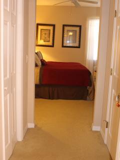 View of Master Bedroom from En Suite Bathroom. Walk in Wardrobe to Left of Picture