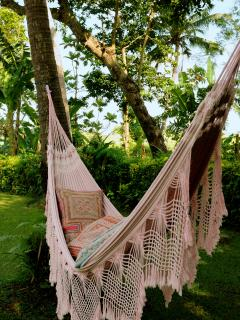 relax in one of our brazilian hammocks in the garden