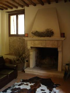 The hand made fireplace, the winter beating heart of the villa...