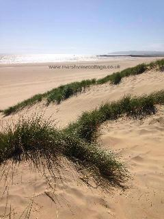 The dunes and vast sandy beach are a short walk away from Marsh View Cottage, Camber Sands, Rye, Sx