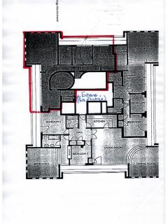 Red-lined floor plan of apartment