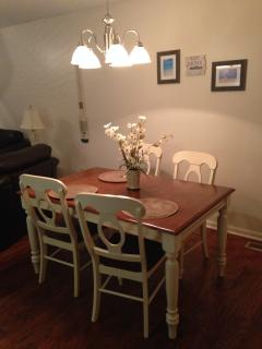 Dining area seats up to 6 comfortably