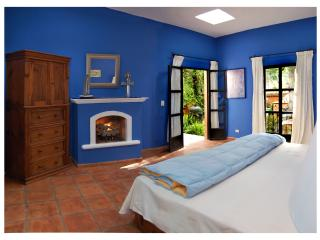 Master bedroom with King Bed, fireplace and Garden View