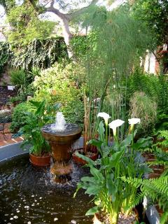 Fountain in front of villa veranda