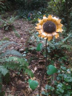 A beautiful sunflower and watchful doggie greet one as they enter the TreeHouse space.