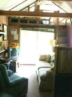The two loft beds are full-size--lots of fun!