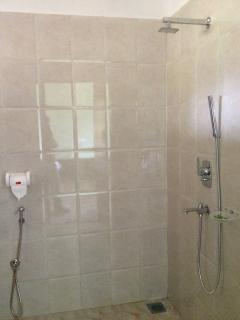 Modern shower in the bathroom.