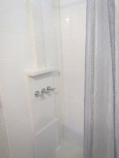 Newly tiled bathroom shower with hot water.