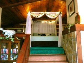 King size canopy bed has creek ,fireplace &; TV view.