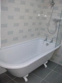 Roll top bath with overhead thermostatic shower