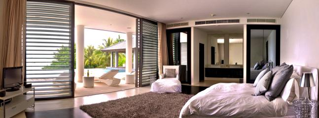 The poolside bedroom is perfect for those who like a morning swim