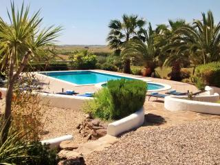 The upper pool terrace with amazing unspoilt southerly views