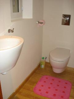 Modern toilet upstairs with 'meurtrière' (narrow) window in the dick wall