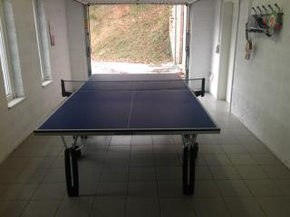 table tennis in the garage , badmington set , hometrainer , plenty of space to put your bikes ,boots