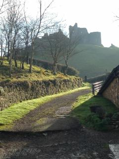 Looking up to the castle from the farm and cafe.