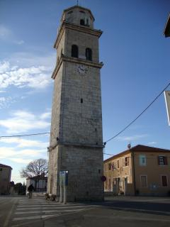 Church tower in center
