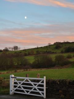Entrance gate to Marsh Royd Barn and views from front garden