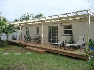 Secluded private back patio where you can enjoy your morning cofee