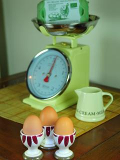 You'll find organic free range eggs, Lincolnshire sausages, organic milk and butter in your fridge