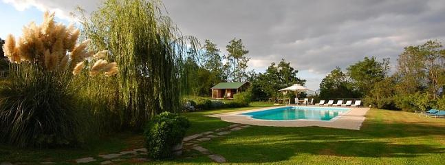Panoramic of the swimming pool and park