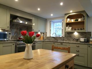Brand new well equipped kitchen with range cooker and dishwasher. Lambs grazing outside window.