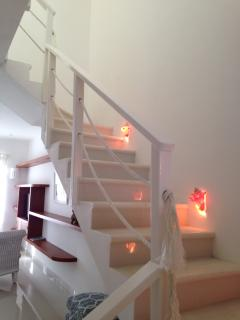 Stairs with shell lights