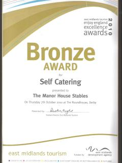Enjoy England East Midlands Tourism Bronze Award for Self-catering Accommodation