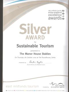 Enjoy England East Midlands Tourism Silver Award in Sustainable Tourism