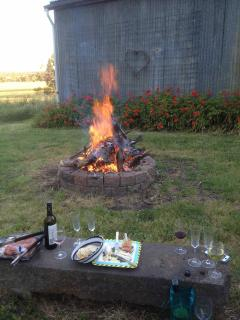 Gathering around the fire pit for a little afternoon nibble and a glass of wine is always enjoyable.
