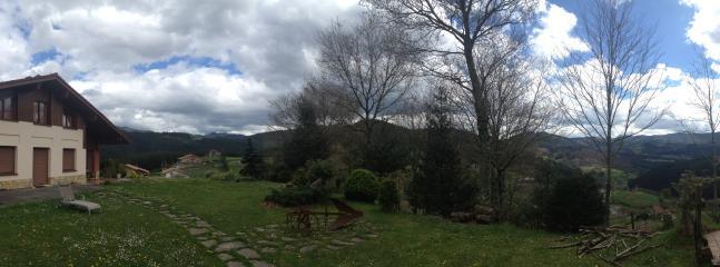 Vue panoramique avec la forêt de chênes à proximité