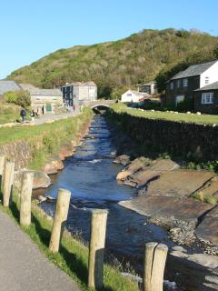 Looking into Boscastle. Village has woodland and coastal walks.