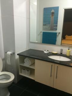 Toilet & basin (shower to the right, behind the door)