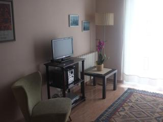 Corner living room with TV ,  hifi and DVD player