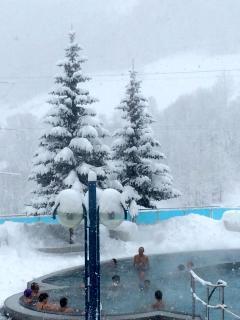 Leukerbad Thermal Baths (Winter) just 3 minutes' walk away