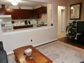 Suite 1. Fully Equipped Open Concept Living Room/Kitchen and Breakfast Bar.