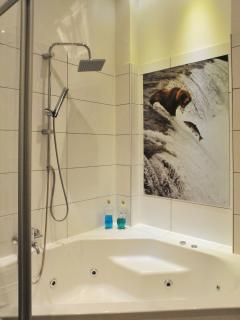 Bathroom with 2-person jacuzzi bath and overhead shower
