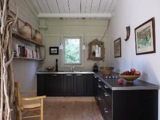 Dans la cabane de la leque,une cuisine  équipée et un barbecue extérieur pour des repas  entre amis