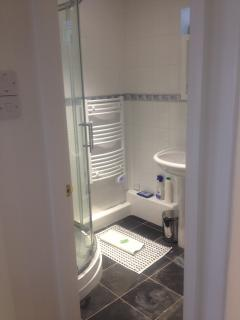 Shower, Basin, WC, Heated Towel Rail, Slate floor
