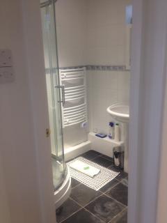 Shower, Basin, WC, Heated Towel Rail, Slate floor