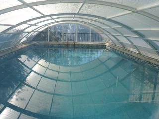 Pool in the garden with winter cover. The pool, 9 metres X 5m is 2.5m deep at one end.