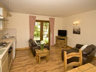 Open plan lounge and kitchen area at Crib Goch Cottage