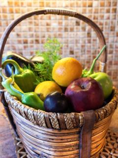 Fresh vegetables (from the garden) and fruit