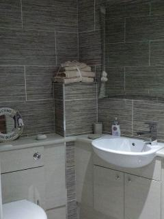 Luxury master bathroom includes shower over bath .