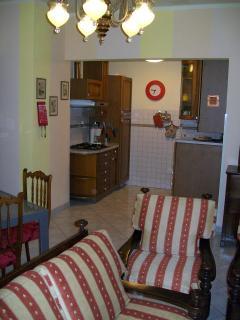living room with kitchen - soggiorno con angolo cottura accessoriato