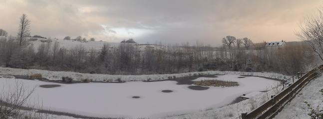 Panoramic photo of the view from the veranda in winter