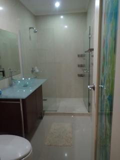 Bath fitted with hot/cold shower to freshen you up
