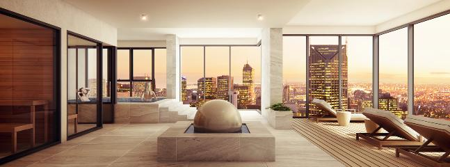Penthouse level 55 spa, sauna, steam room, gym, lounge area with amazing city views
